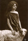 Studio Portrait, Woman with Borzoi Dog Photographic Print