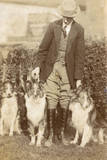 Man with Three Dogs in a Garden Photographic Print