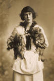 Woman with Two Pekingese Dogs Photographic Print