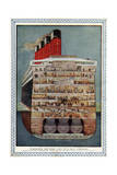 Cross-Section of 'Aquitania' Steamship Giclee Print