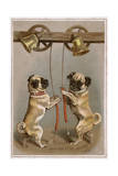 Bell Ringing Pug Dogs Giclee Print
