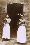 Two Women with Pekingese Dogs Photographic Print