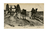 Arab Well with Men and Camels Photographic Print