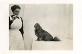 Woman and Pekingese Dog Photographic Print