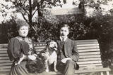 Couple on a Bench with a Dog Photographic Print