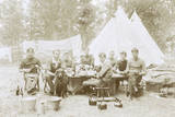 Men Camping with a Dog Photographic Print