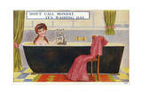 Lady in Bath with Cat Giclee Print