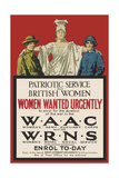 Recruitment Poster for the Waac and Wrns Giclee Print
