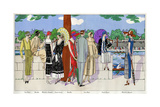 Ladies at a Boat Race in Various Summer Outfits Giclee Print