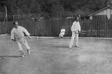 Anthony Wilding Playing Tennis at Cannes Photographic Print