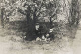 Two Men under a Tree with Dog Photographic Print