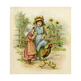 Two Girls with their Chickens Impression giclée