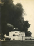 Anglo-Persian Oil Fuel Tanks Burning in Madras Photographic Print