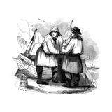 Fishermen on the Beach Giclee Print