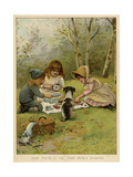 Children Eating a Picnic in the Woods Giclee Print