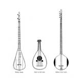 Three Asian Musical Instruments Giclee Print