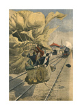 Balloon on Railway Giclee Print