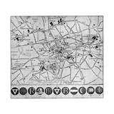 Map of YMCA Shelters around London During WW1 Giclee Print