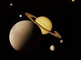 Saturn and its Moons Photographic Print