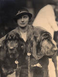 Woman with Two Pedigree Bloodhounds Photographic Print