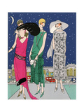 Three Young Ladies in Evening Outfits by Worth Giclee Print