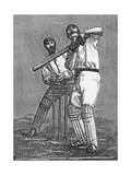 Cricket a Batsman Dealing with a Full Pitch Giclee-trykk