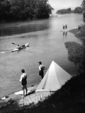 Camping and Canoeing Photographic Print