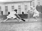 Girls Playing Cricket Photographic Print