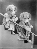 Girl Puppies and Dolls Photographic Print