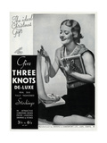 Advert for Three Knots De-Luxe Stockings 1934 Giclee Print