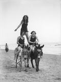 Girls on Donkeys 1920S Photographic Print