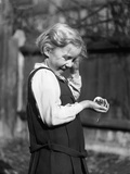 Girl and Pet Mouse Photographic Print