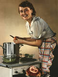 Smiling Woman Preparing a Wholesome Feast Photographic Print