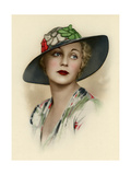 Woman Wearing a Brimmed Hat Giclee Print