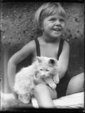 Girl and White Cat Photographic Print