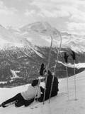 Resting Skiers Photographic Print