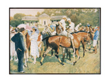 Ladies with Parasols Admire Horses and their Jockeys at the Races Giclee Print