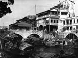 Canal and Bridge, Canton, China, C. 1910 Photographic Print