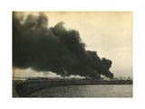 Smoke from Shelled Fuel Tanks in Madras Giclee Print