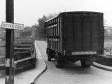 Lorry Going over Bridge Photographic Print