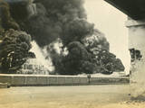 Smoke from Shelled Fuel Tanks in Madras Photographic Print