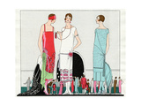 Three Dresses by Beer, Premet and Martial Et Armand Giclee Print