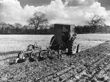Four-Furrow Tractor Photographic Print
