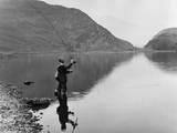 Angling at Llyn Dinas Photographic Print