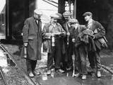 Miners and Lamps Photographic Print