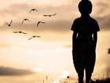 Alone Kid Standing on Field Looking far Away on Birds Flock Photographic Print by  zurijeta