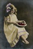 Little Girl in Yellow Dress with Basket of Fruit Photographic Print