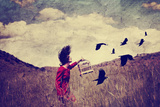 A Girl Walking in a Field with a Flock of Birds Done with a Vintage Retro Instagram Filter Prints by  graphicphoto