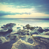 Sundown over the Ocean. Water in Motion Blur. Instagram Style Toned Image Posters by  Zoom-zoom