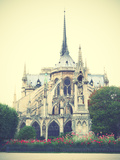 Back Side of Notre Dame De Paris, France. Instagram Style Filtred Image Print by  Zoom-zoom